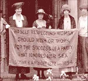 """Starting in New York City in 1857, women workers made a tradition of labor actions and protests on March 8. In 1910, the first International Women's Day was celebrated on the same day. This photo shows an early Women's Day protest."""